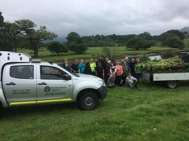 Success: Environment Agency celebrates 10 years of green engineering in Cumbria. Oakfield school pupils helping with invasive species control. Picture: EA