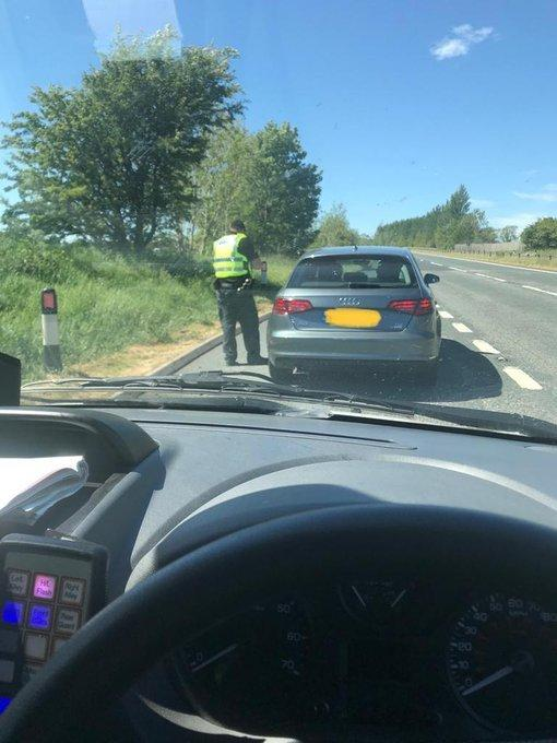 Male stopped on A66 at Appleby on his way home to Glasgow after an 11 day stay at his girlfriend's parents' address in Hull. Picture: Eden Police May 30, 2020