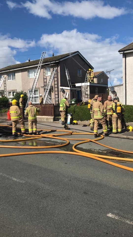 Crews from Workington, Whitehaven and Maryport were called to a fire in a roof space at Moorclose Road, Workington. Picture: Workington Fire Station