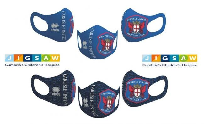 MASKS: Carlisle United are now selling face masks with £1 from each sale going to Jigsaw Children's Hospice