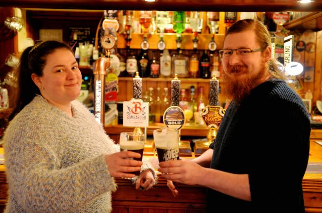 The Royal Oak's landlord Nathan Todd with partner Beth Ludford