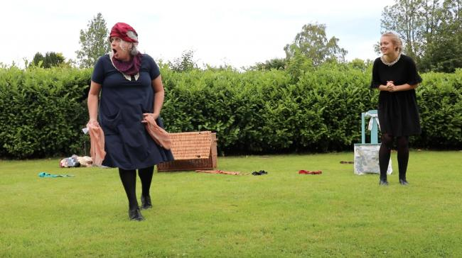 Outdoor performance: Queen's Knickers on school playing fields         Picture: Callum Lattimer