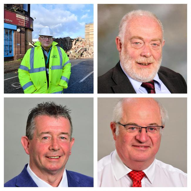 Split: Top, from left, councillors John Mallinson and Michael Heaslip, bottom, Raymond Tinnion and Colin Glover