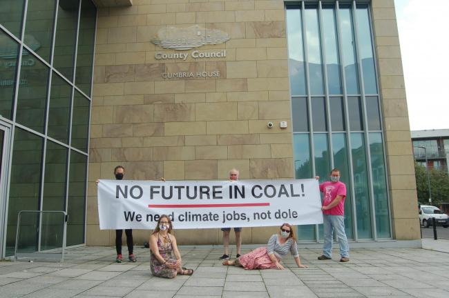 PROTEST: Campaigners gathered outside Cumbria County Council's Carlisle headquarters this week ahead of a key decision on new coal mine plans