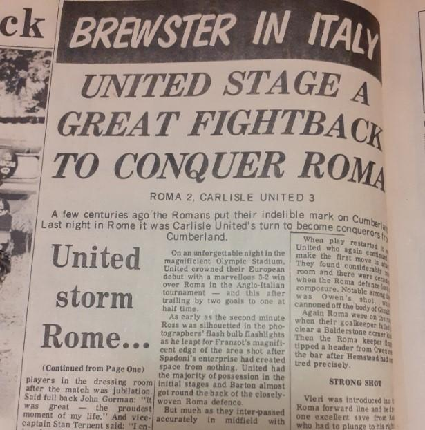 News and Star: Ross Brewster's report from Rome after Carlisle's amazing victory in the Stadio Olimpico