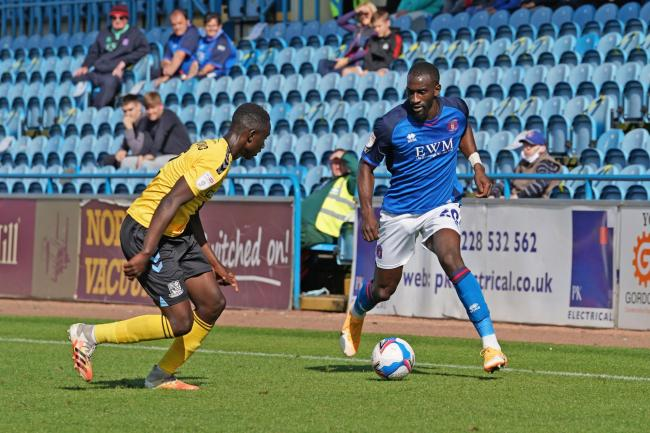 Slick tricks: Gime Touré dazzled with his skills against Southend and already looks like he could be a key creative player for Carlisle this season after promising displays in the early stages of the campaign so far						        Pictures: Barbara Abbott