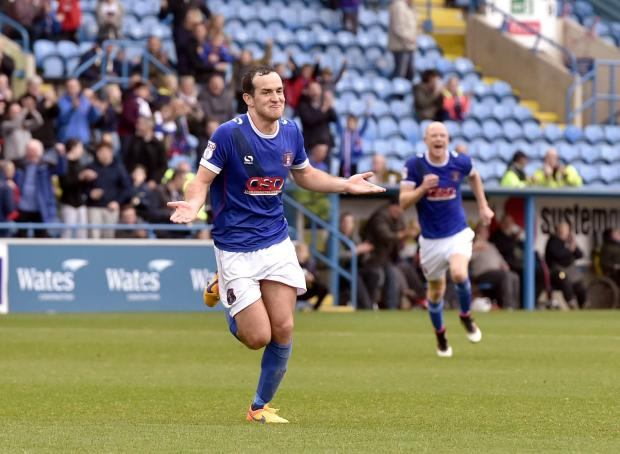 News and Star: Joyce celebrates his goal of the season for Carlisle against Crawley in 2016 (photo: David Hollins)