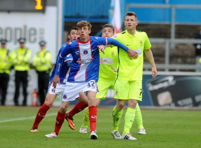 Carl Taylor on his solitary senior appearance for Carlisle against Hartlepool in 2015