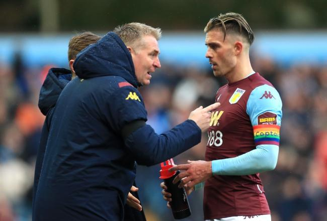 Villa boss Dean Smith, pictured with Jack Grealish, is a friend of Carlisle's Chris Beech and is allowing the Blues to use their training base (photo: PA)