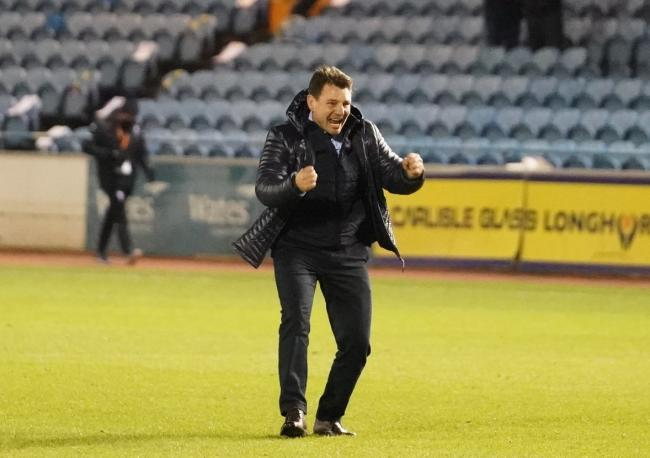 Chris Beech shows his joy to supporters at full-time (photo: Barbara Abbott)