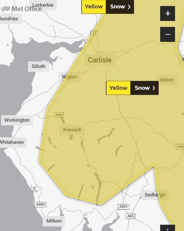 Met Ojffice yellow weather warning for Cumbria