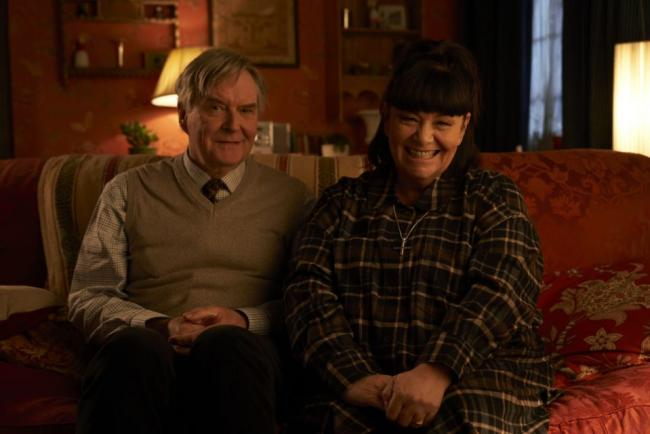 Programme Name: The Vicar Of Dibley in Lockdown - TX: 07/12/2020 - Episode: The Vicar Of Dibley in Lockdown (No. n/a) - Picture Shows:  Hugo Horton (JAMES FLEET), The Reverend Geraldine Granger (DAWN FRENCH) - (C) Tiger Aspect Productions Ltd - Photograph