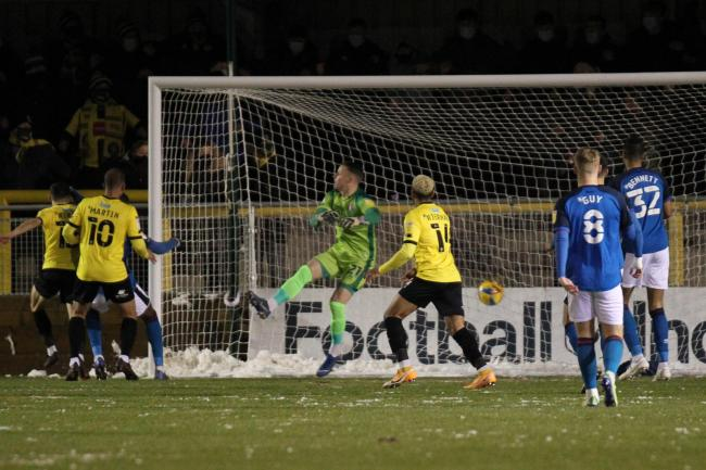 Connor Kirby, far left, scored in the first minute of the December 29 Harrogate v Carlisle game - which  was abandoned seven minutes later (photo: Barbara Abbott)