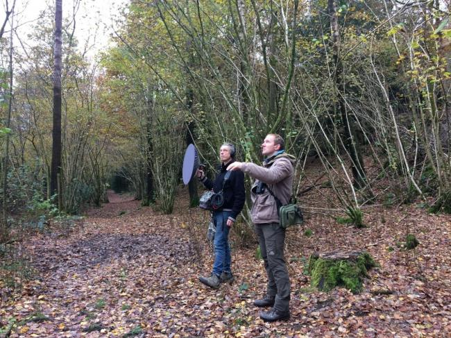 RECORDING: Producer, sound artist Dan Fox on left with ecologist Mike Douglas recording in Rusland woodland
