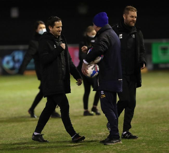 Harrogate boss Simon Weaver, right, with his assistant Paul Thirlwell, the former Carlisle skipper, left (photo: Richard Parkes)