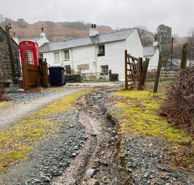 Flood damage to the Keswick guest house site