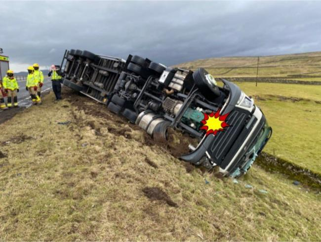 A section of the A66 was closed due to overturned lorries, with fire crews warning drivers to be careful in high winds Picture: Station Manager Owen McCarney