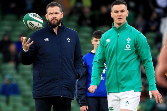 Johnny Sexton, right, is satisfied that Ireland are making progress under head coach Andy Farrell, left