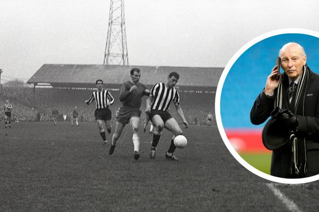 John Rudge pictured in action for Carlisle against Newcastle in 1968. Inset, the legend is now club president at Port Vale (photos: News & Star / PA)