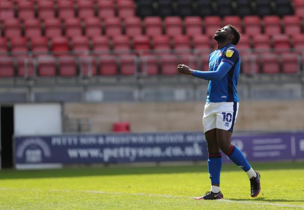 News and Star: Zanzala shows his frustration after his penalty was saved