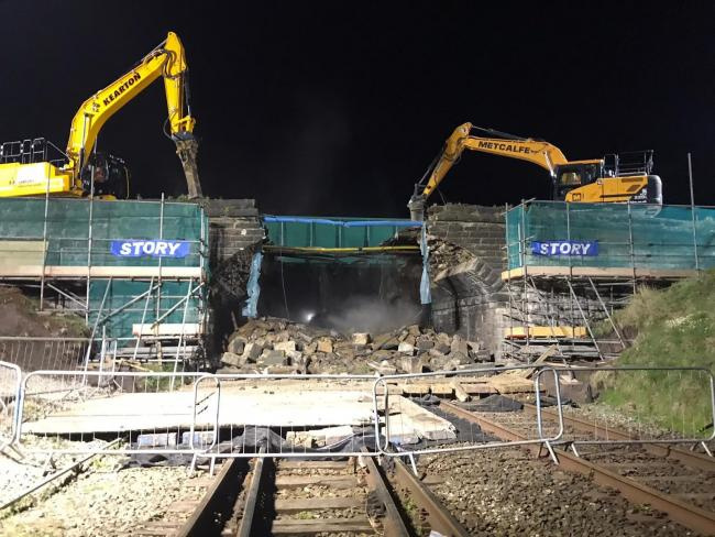 DEMOLITION: The Siddick Bridge being knocked down by Story Contracting  Picture: Great North Rail Project