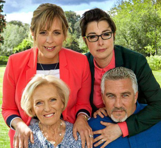 Bake Off hosts Mel and Sue with Mary Berry and Paul Hollywood