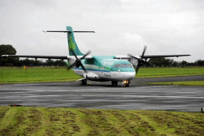 A Stobart Air ATR-42 in Aer Lingus livery at Carlisle Airport