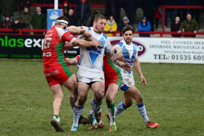 Workington Town captain Captain Ollie Wilkes on the charge at Keighley earlier in the season