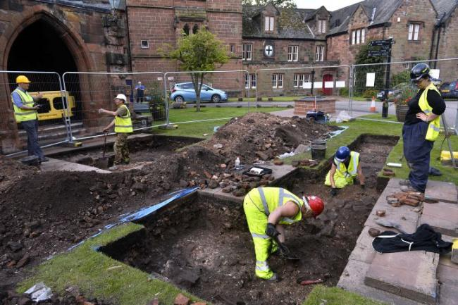 Archaeological dig outside the Fratry in the grounds of Carlisle Cathedral.