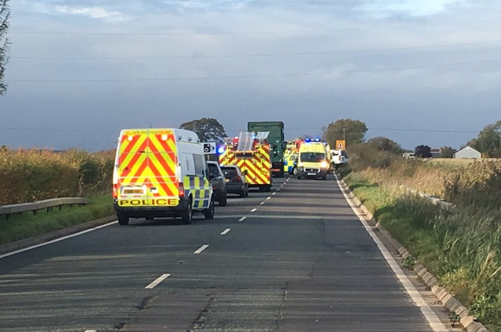 Picture taken at the scene of a two vehicle crash on the A7 at Westlinton. (09/10/18) Racehorse Rescue Centre.