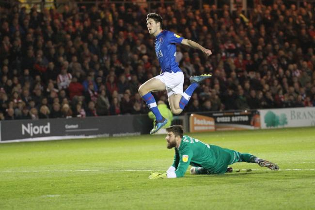 Goal: Ashley Nadesan bags his second in Carlisle United's 2-2 draw at Lincoln (Photo: Barbara Abbott)