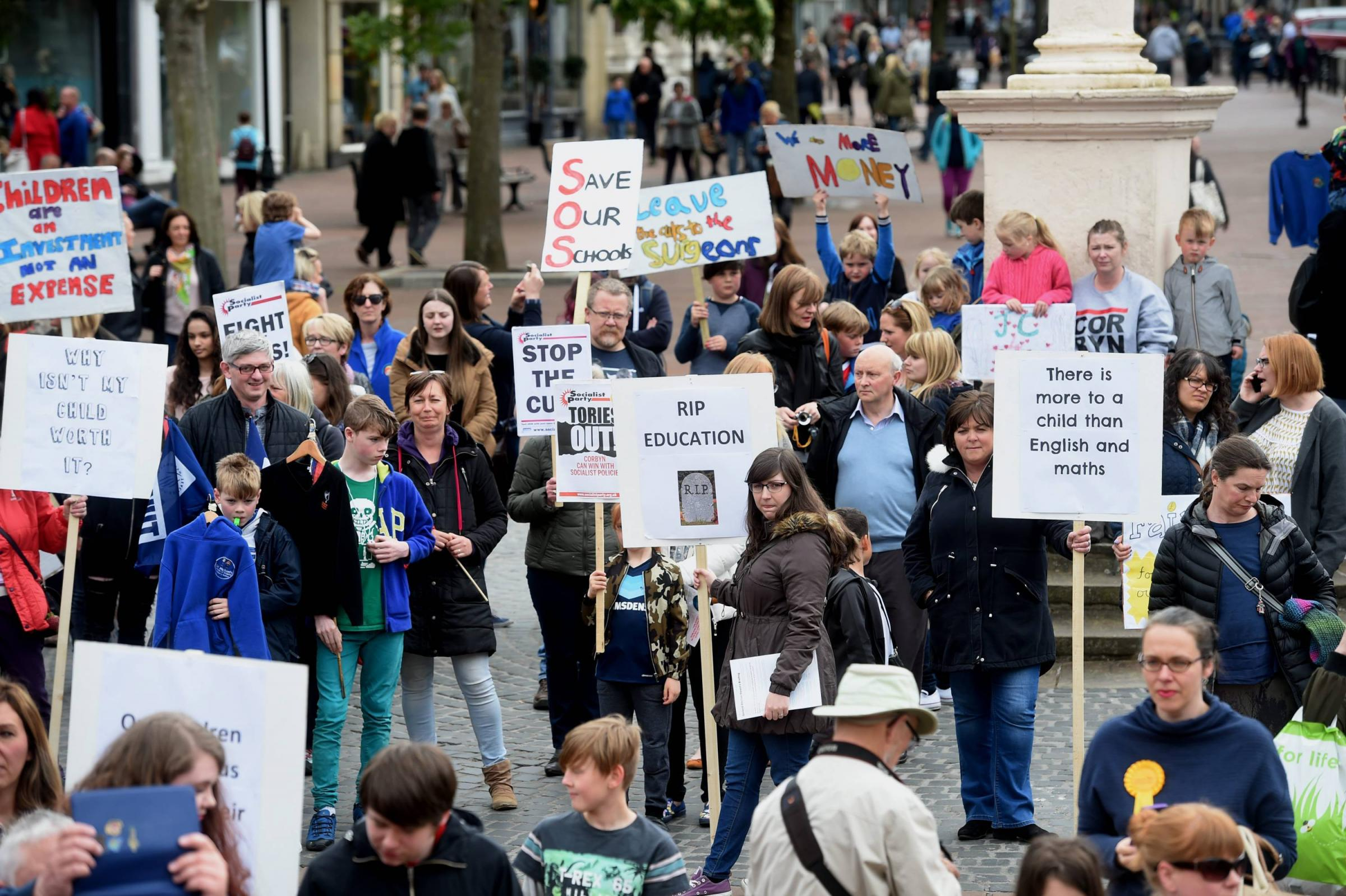 Education funding protest. A protest rally in Carlisle City Centre highlighting the school funding crisis: 21 May 2017
