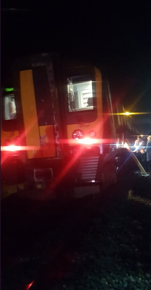 EVACUATION: Passengers had to leave the train  MARTIN LITTLE
