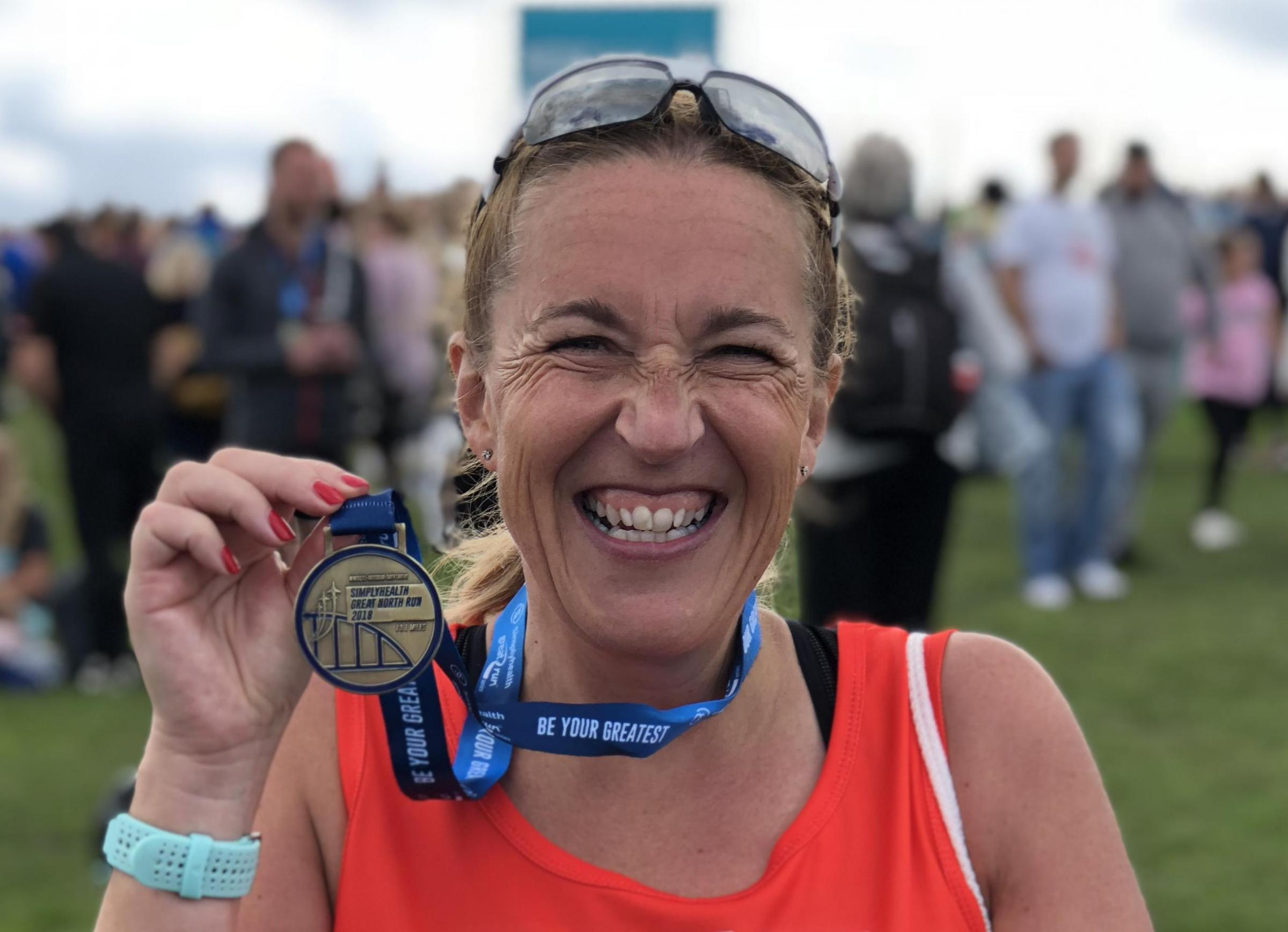 Sue Kaveney and Great North Run Medal 2018
