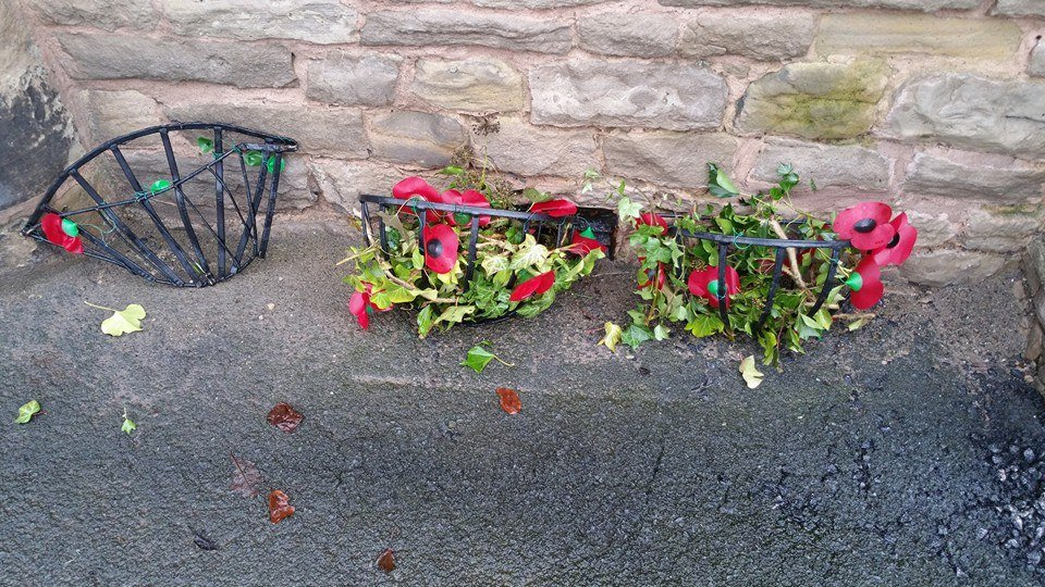 Vandalised: A memorial display in Shap has been damaged by vandals between December 4 and 5