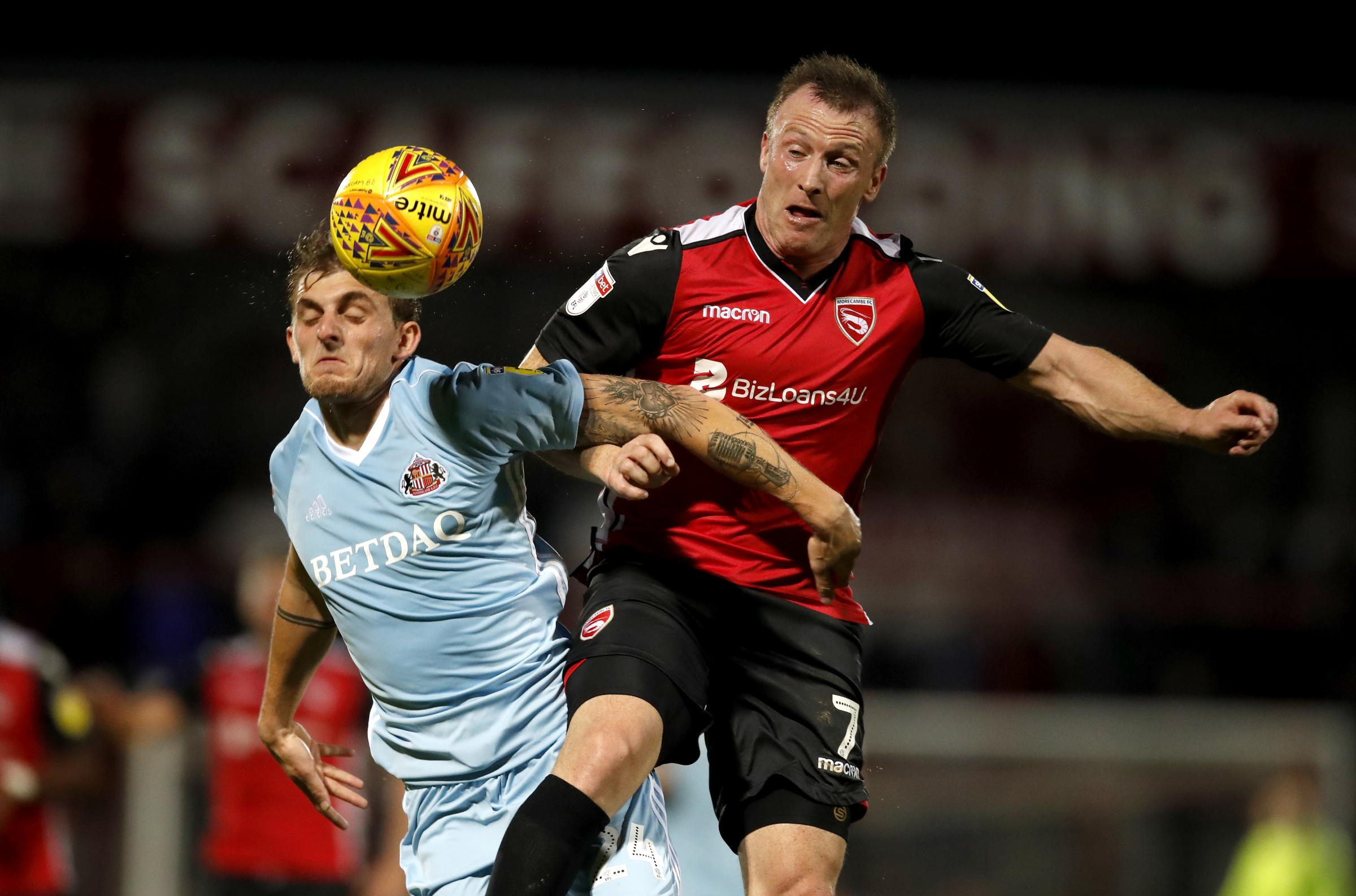 KEY: Garry Thompson, right, at Morecambe. Lee Andrews believes he will be crucial to Reds' relegation battle