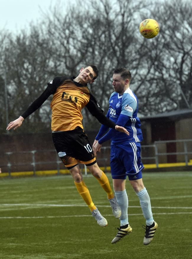 Brace: Annan Athletic striker Tommy Muir, left, scored twice in their 3-0 win over Peterhead at Galabank (Photo: Louise Porter)