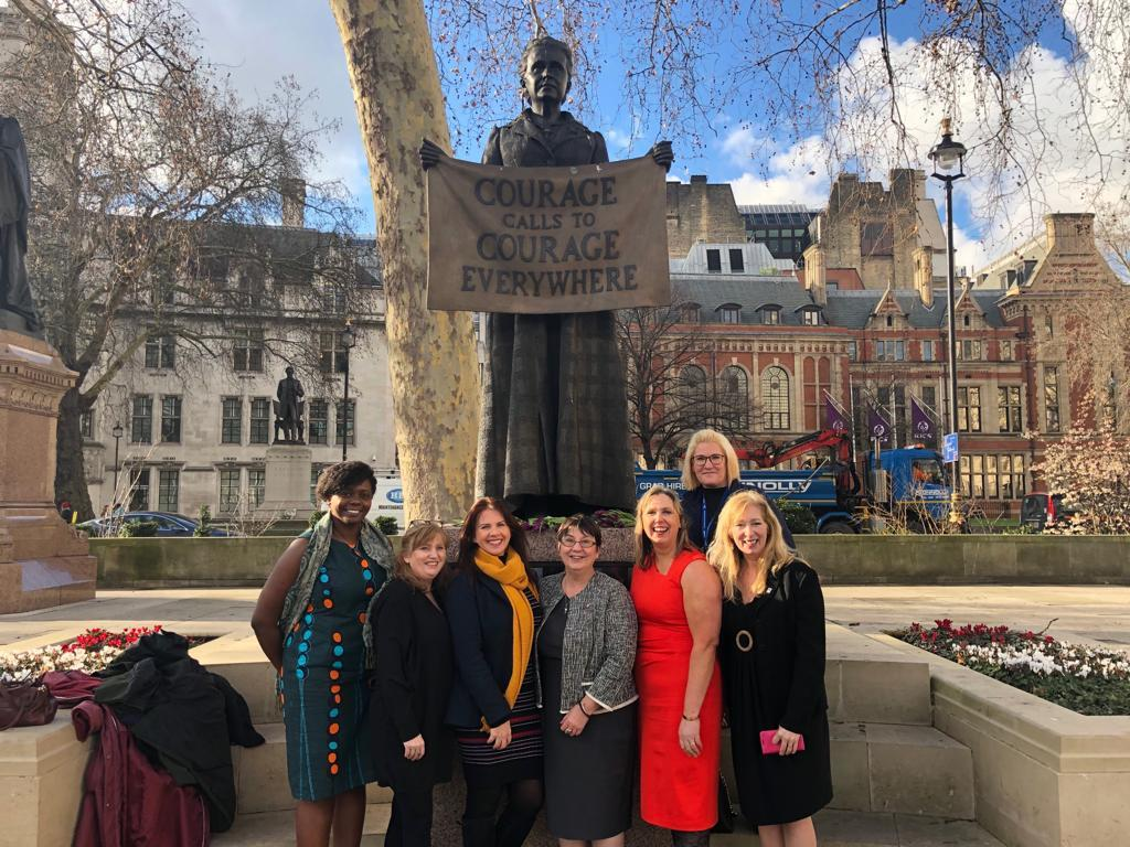 Women in Nuclear WiN Cumbria with Trudy Harrison at Millicent Fawcett statue