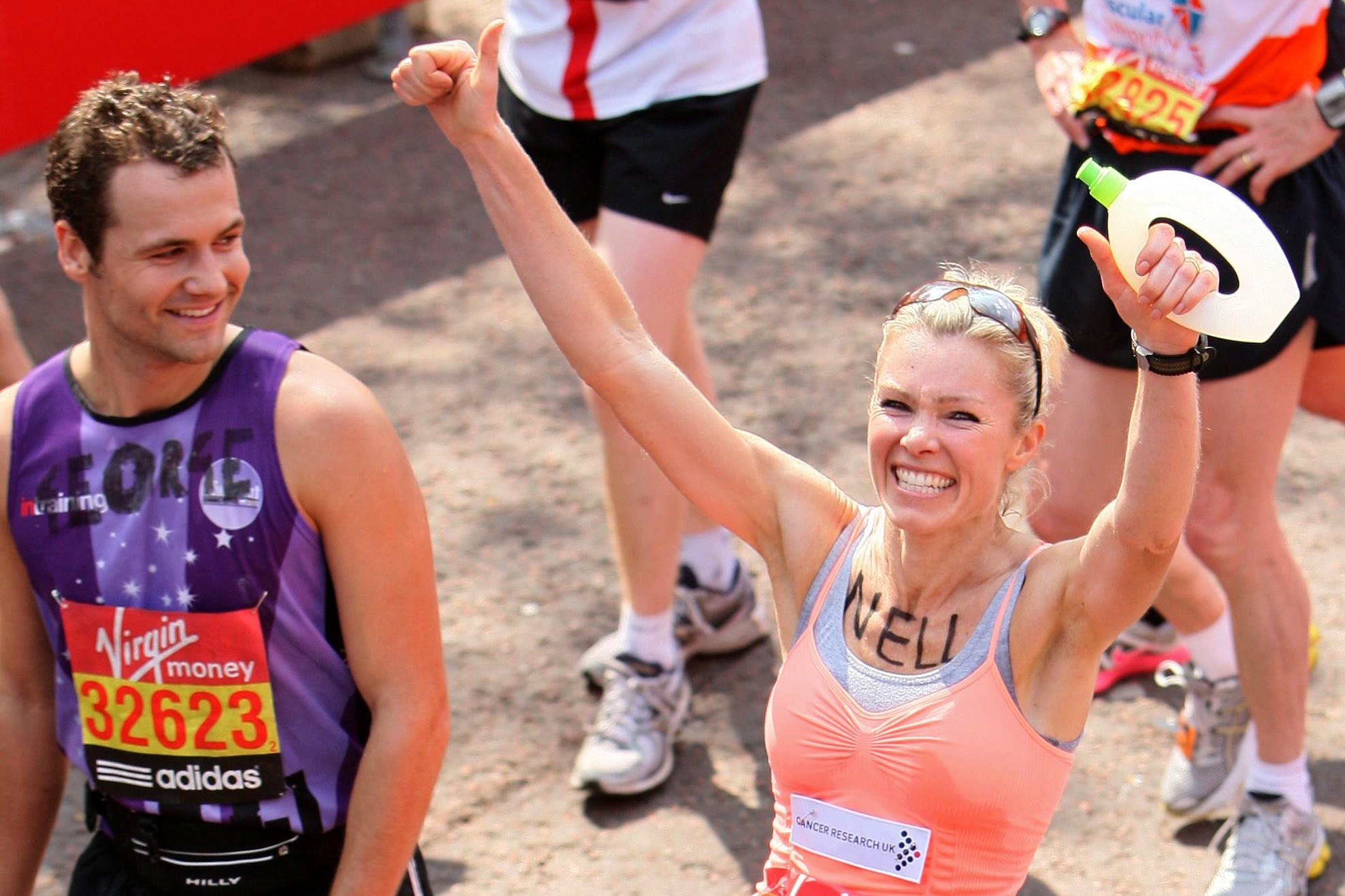 Nell McAndrew after finishing the 2011 Virgin Money London Marathon