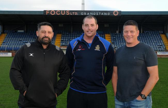 Scott McAvoy with his coaches at Haven Gary Charlton and Jonty Gorley