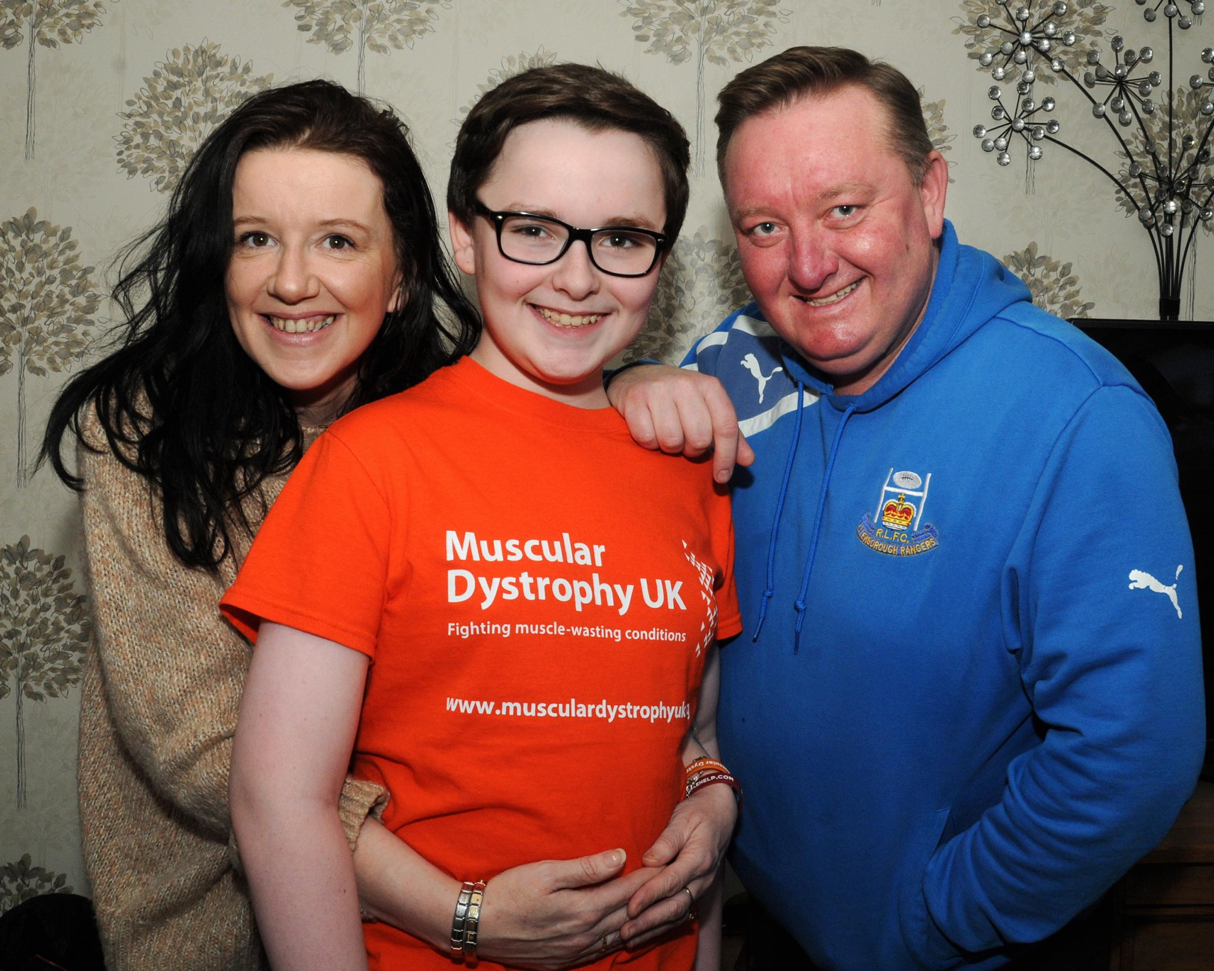 "Mitchell Hill aged 14 from Maryport. Raising Money and Awareness for Muscular Dystrophy. 6 Feb 2019. Pics Jim Davis...Ambassador and Face of Cumbria Muscular Dystrophy...""Go Orange"" ""Wear your Sunnies and Raise some Monies""..Mitchell w"