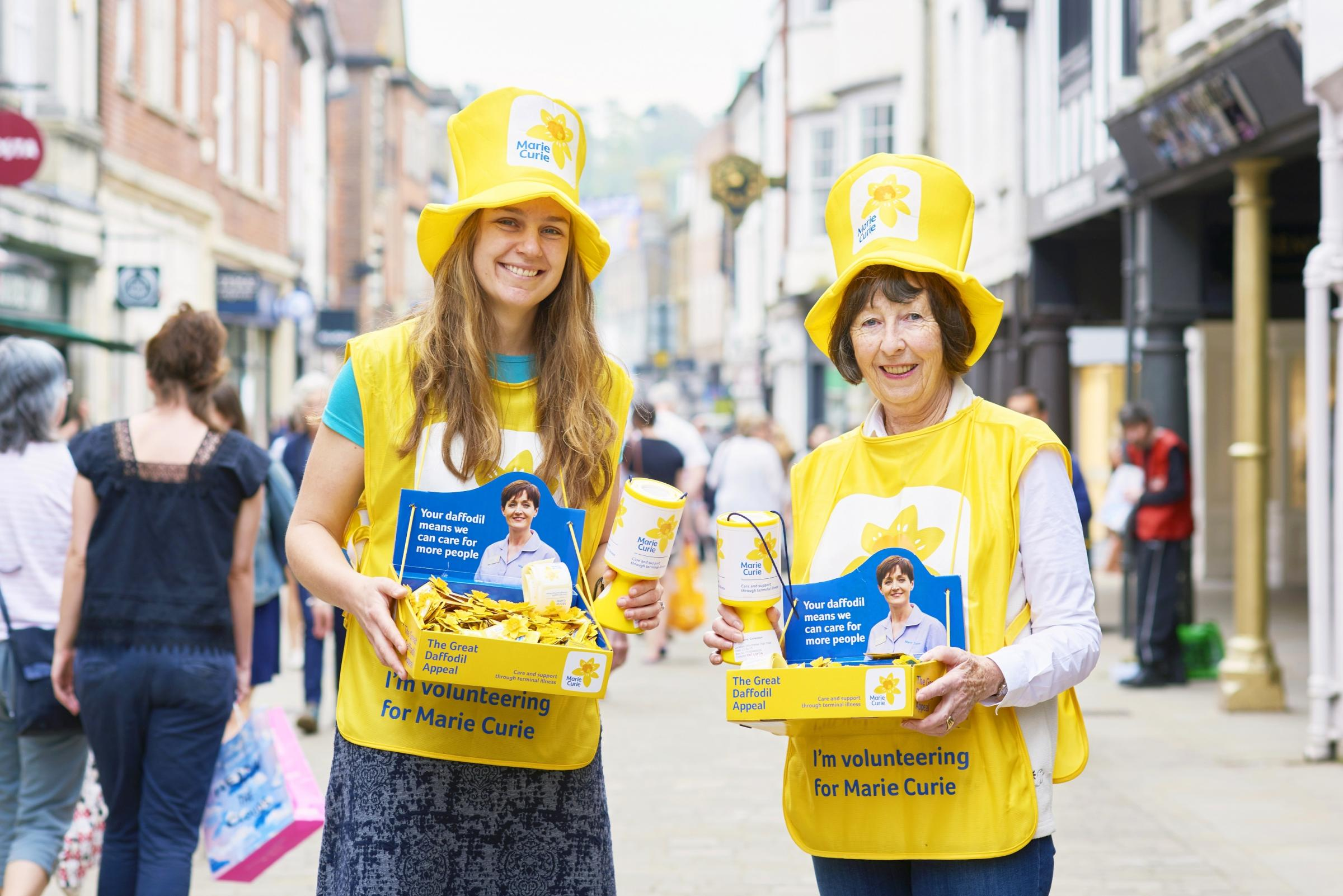 Volunteers collecting for the Great Daffodil Appeal 2018