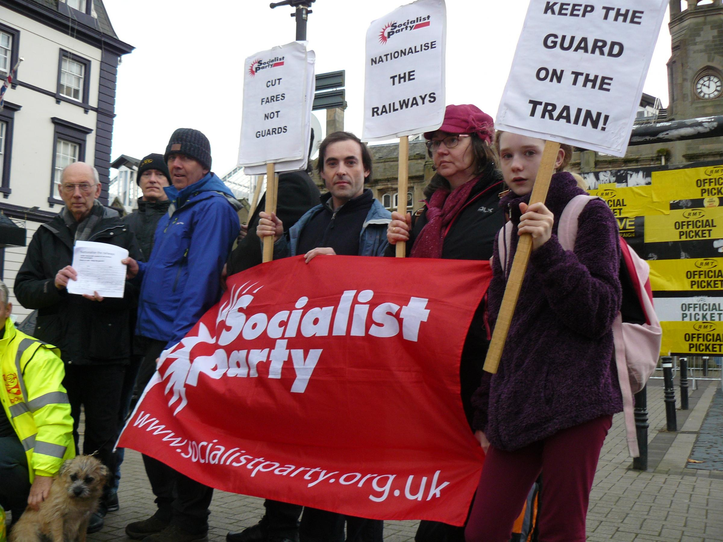 VICTORY: Members of Carlisle Socialist Party presented a 900-strong petition of support to striking rail guards in November