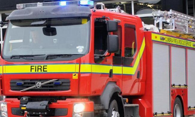 A commercial vehicle was badly damaged by fire