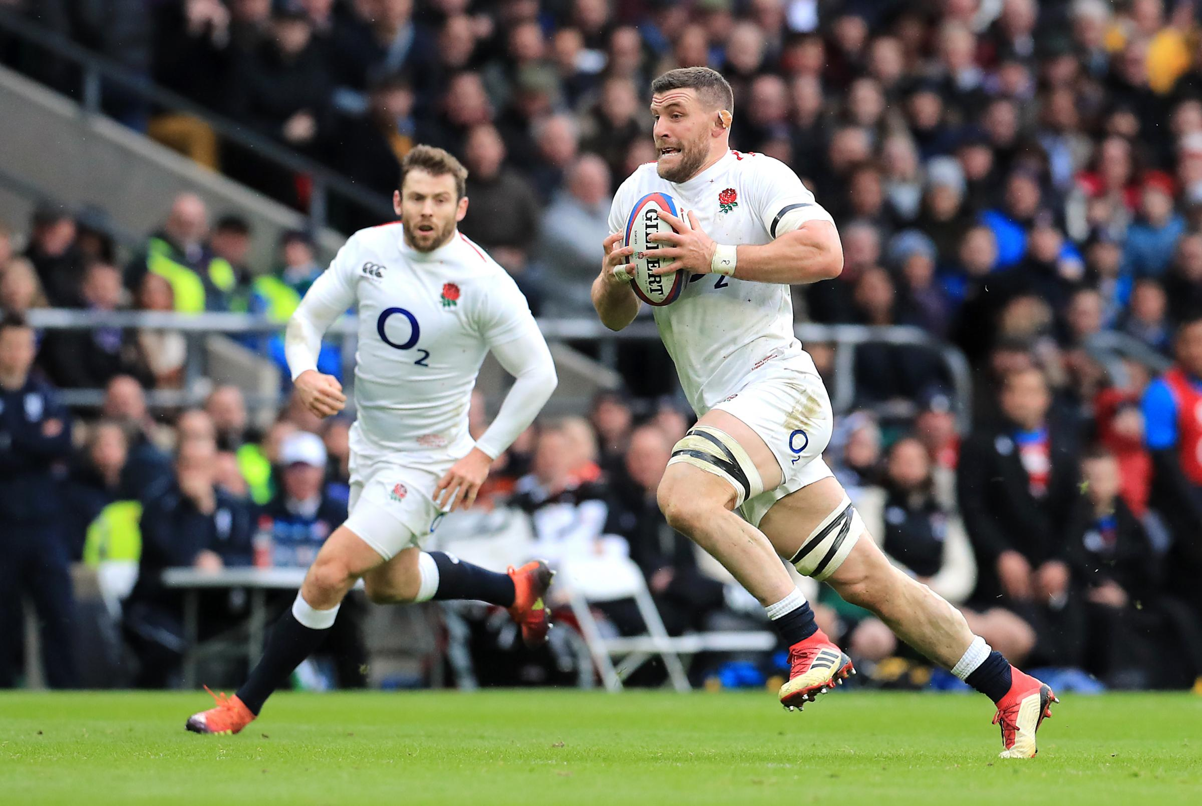 Here I come: England's Cumbrian star Mark Wilson charges at the France defence at Twickenham