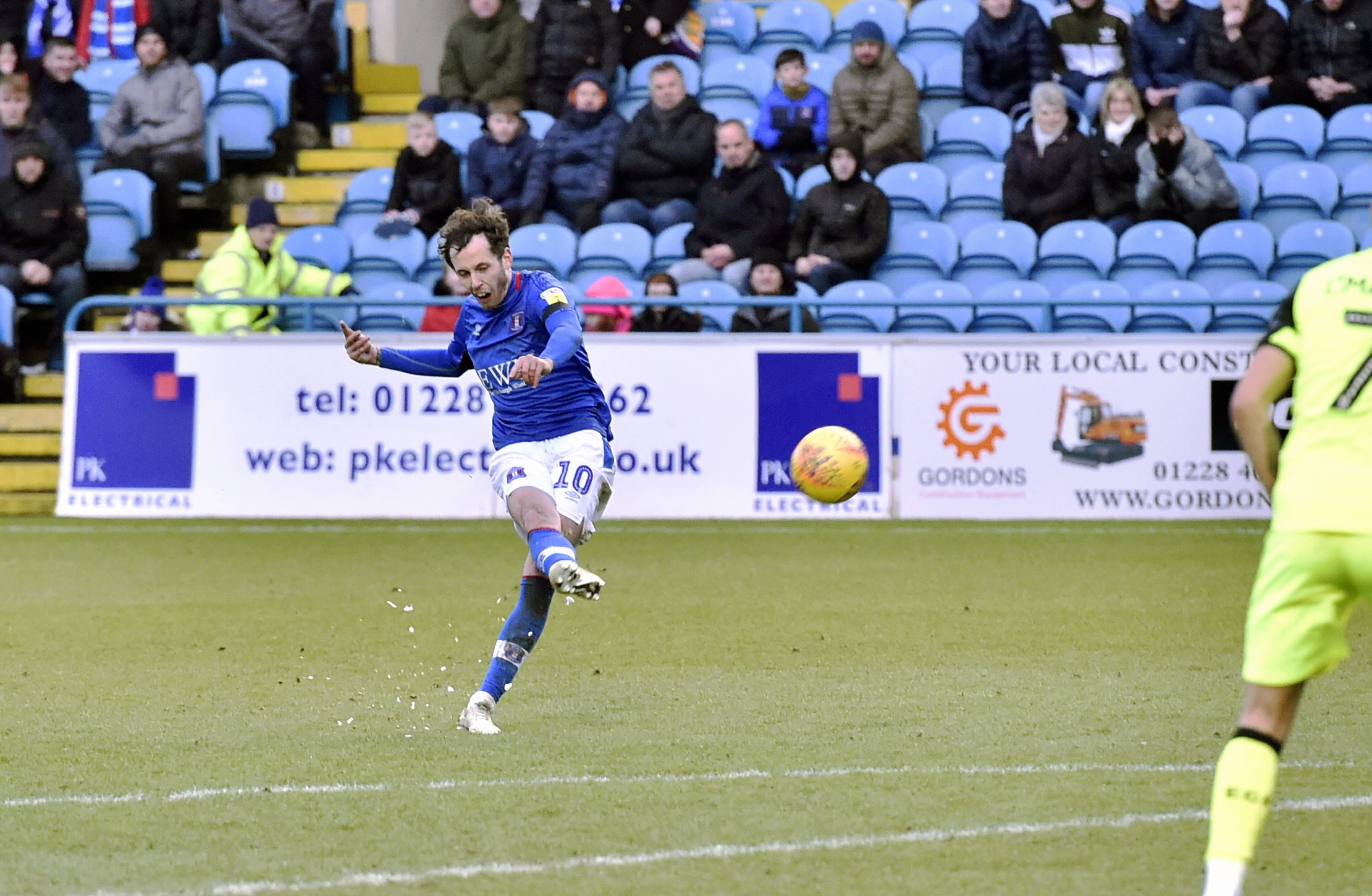 Goal: Jamie Devitt scores from a free-kick in Carlisle United's 1-1 draw at home to Exeter on Saturday (Photo: David Hollins)