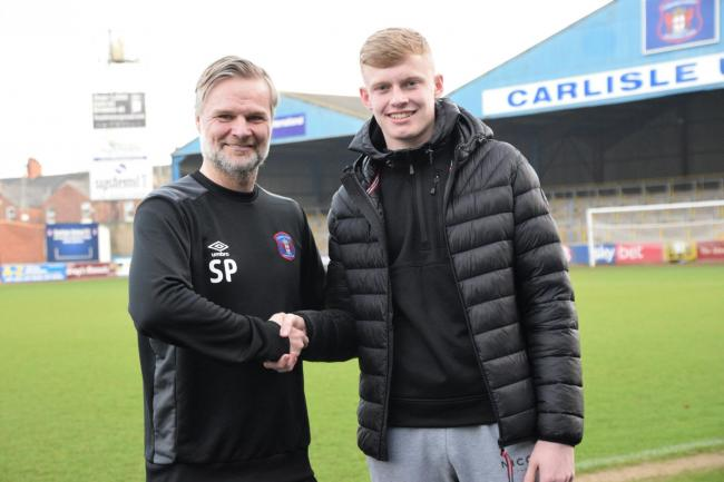Jarrad Branthwaite with manager Steven Pressley (photo: Amy Nixon)