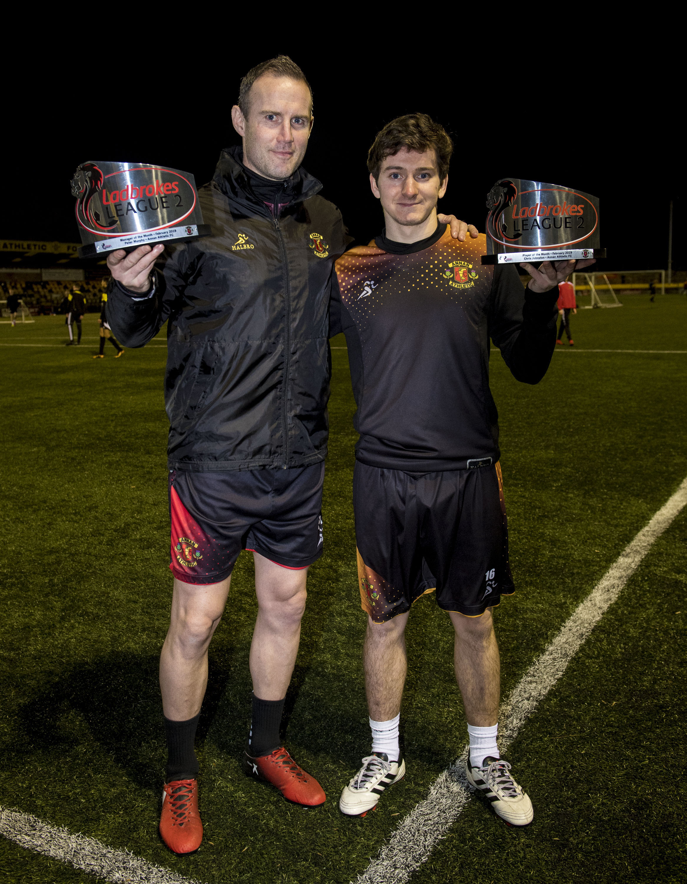 Celebrations: Annan's Peter Murphy and Chris Johnston have been named player and manager of the month (Photo: SNSpixs)