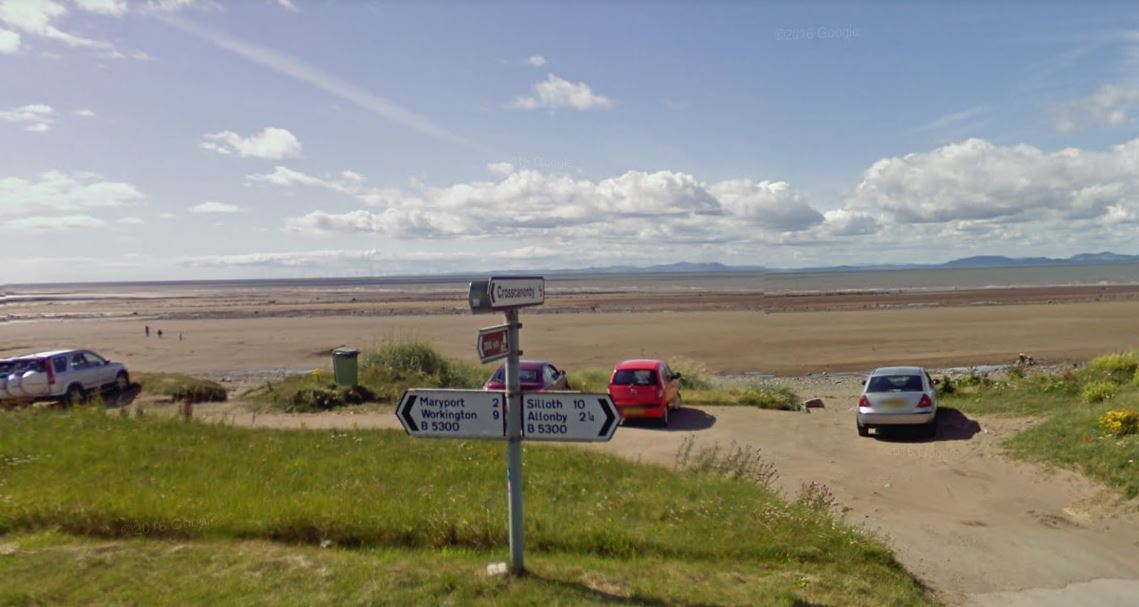 Beach near Maryport, Cumbria. Google Earth