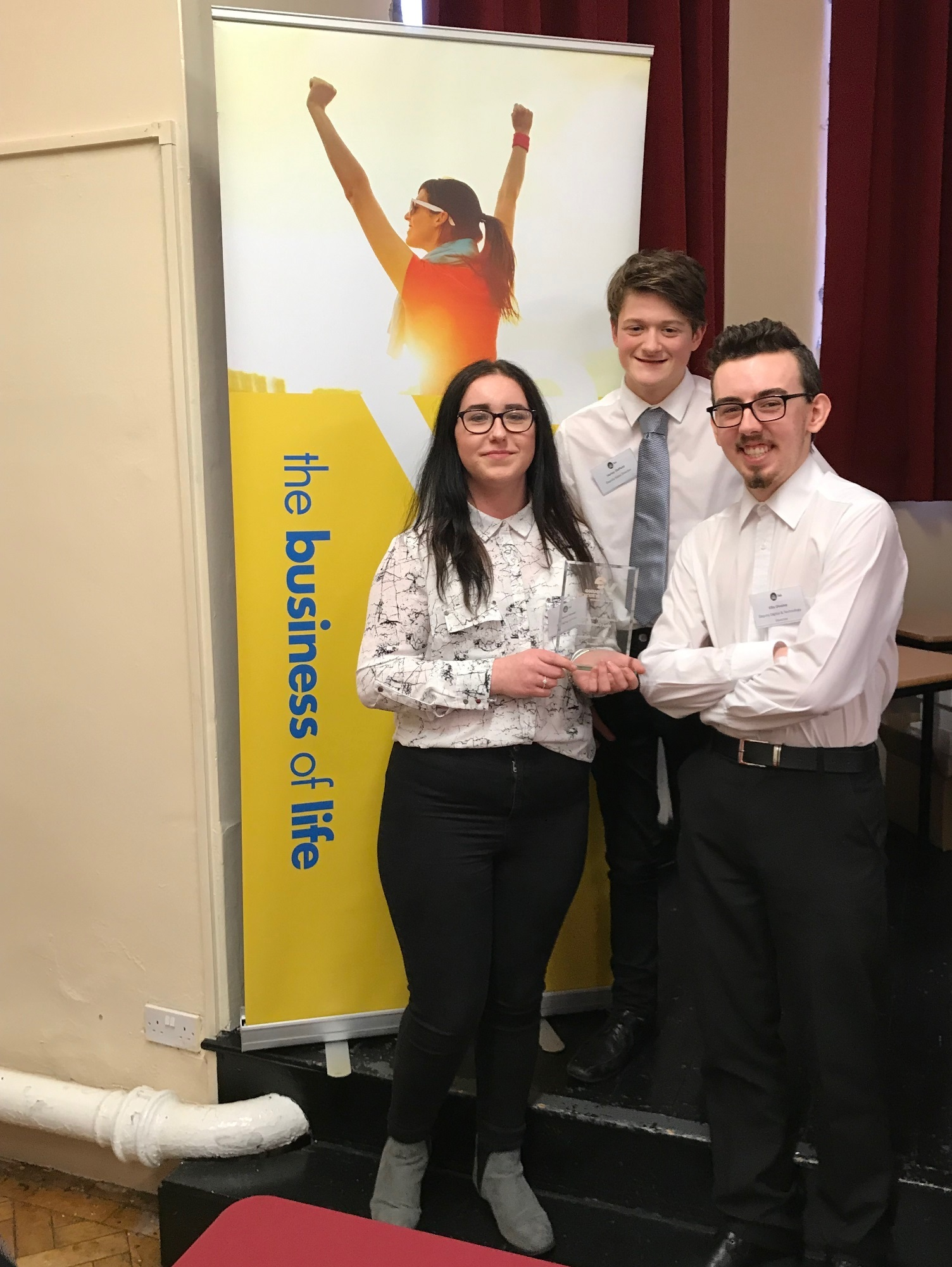 Rhianna Hewer, managing drector of the Young Enterprise team UpTech and team-mates Harley Oldfield and Ellis Dineley.